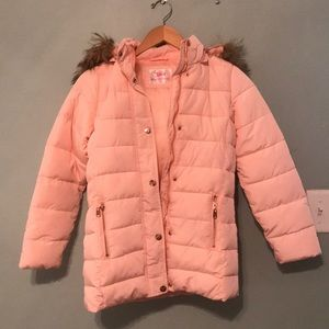 Justice | Girls Pink Puffer Jacket with Fur Hood